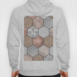 Marble hexagons and rose gold on black Hoody