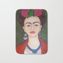 Frida portrait with dalias Bath Mat