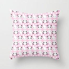Super Cute Kawaii Bunny and Panda (Pink) Throw Pillow