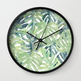Tropical Leaves Monstera leaves Jungle leaves Wall Clock