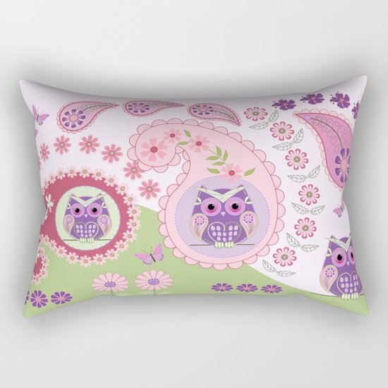 Retro paisley shapes with cute owls and flowers Rectangular Pillow
