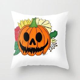 Spooky Autumn Pumpkin Throw Pillow
