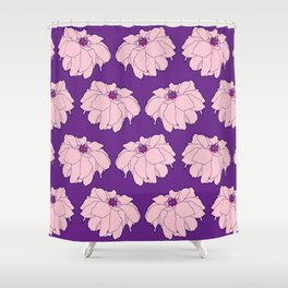 Pink Dahlia Flower Illustrated Print Shower Curtain