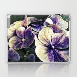 Hortensia flowers in vintage grunge watercoloring style Laptop & iPad Skin