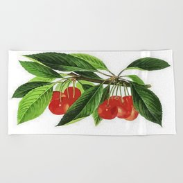Red Cherries Vector on White Background Beach Towel