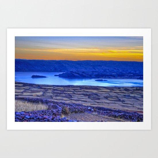 A Titicaca Sunset in Blue Art Print