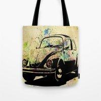 beetle Tote Bags featuring Beetle by Del Vecchio Art by Aureo Del Vecchio