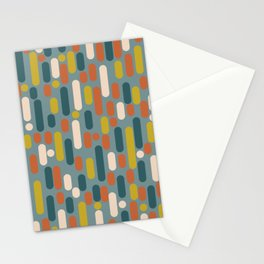 Morningside Heights Mid Century Modern Pattern in Orange, Mustard, and Steel Blue Stationery Cards