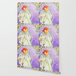 Cosmic Vintage Dream Lady Wallpaper