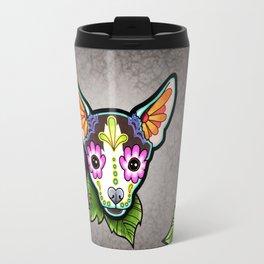 Chihuahua in Moo - Day of the Dead Sugar Skull Dog Travel Mug