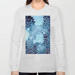 Space Dahlias Blue Ice Long Sleeve T-shirt