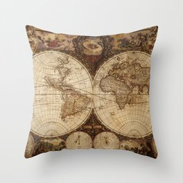 Vintage Map of the World Throw Pillow