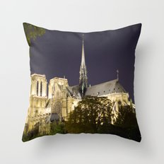 Notre Dame at Night Throw Pillow