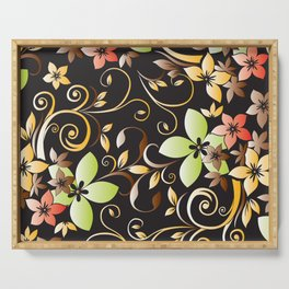 Flowers wall paper 4 Serving Tray