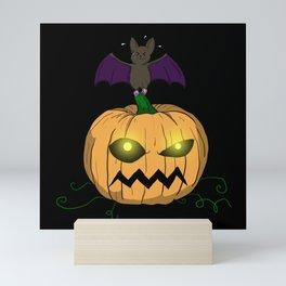 Halloween Pumpkin With Bat Mini Art Print