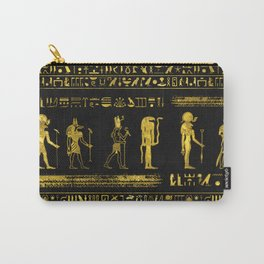 Golden Egyptian Gods and hieroglyphics on leather Carry-All Pouch