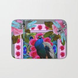 BLUE DRAGONFLIES PEACOCK & PINK ROSES ART Bath Mat