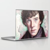 sherlock holmes Laptop & iPad Skins featuring Sherlock Holmes by Olechka