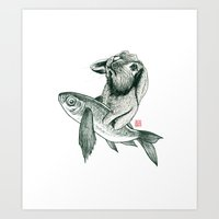 Rabbit & Rocketfish Art Print