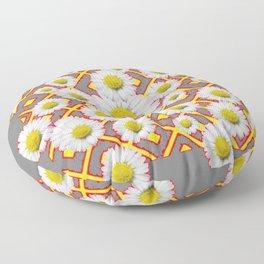 Shasta Daisies Red Pattern Art Grey abstract Floor Pillow