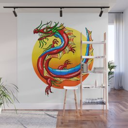 Chinese Dragon In The Sun Wall Mural