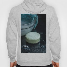 French lavender soap bar with bubbles on dark background Hoody