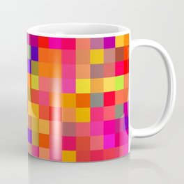 geometric square pixel pattern abstract in red pink yellow blue Coffee Mug