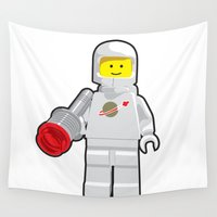 spaceman Wall Tapestries featuring Vintage Lego White Spaceman Minifig by Greg Koenig