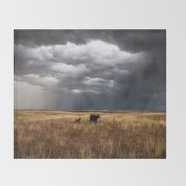 Life on the Plains - Cow Watches Over Playful Calf in Oklahoma Throw Blanket