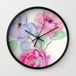 Watercolour Flowers Wall Clock