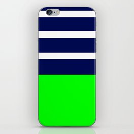 Summer Patio Perfect, Green, White, Navy iPhone Skin