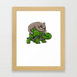 Sloth turtle sleeping Tired funny gift Framed Art Print