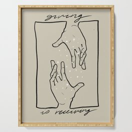 Giving is Receiving - Minimal Line Art (Hands) Serving Tray
