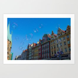 Summer soap bubbles in the city Art Print
