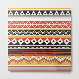 African Tribal Pattern No. 57 Metal Print