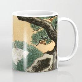 Crane and its chicks on a pine tree  - Vintage Japanese Woodblock Print Art Coffee Mug