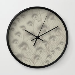 Butterfly swarm on textured chevron pattern Wall Clock