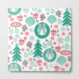 Cute Holiday Christmas Pattern Metal Print