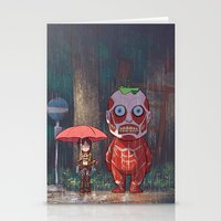 attack on titan Stationery Cards featuring My Neighbor Titan by Ron Chan