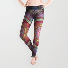 groovy colourful mandala filled with tribal patterns Leggings