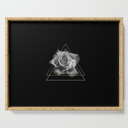 Rose Black and White Serving Tray
