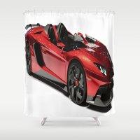 lamborghini Shower Curtains featuring Lamborghini Veneno by rosita