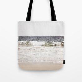 Neutral Ocean Landscape Photography, Grey Seascape Art, Gray Sea Beach Photo, Coastal Print Tote Bag