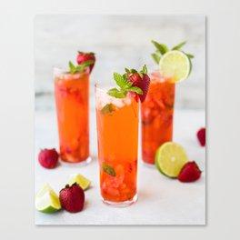 Strawberry Summer Cocktails Canvas Print