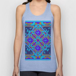 Western Style Purple Turquoise Butterflies Creamy Gold Patterns Unisex Tank Top