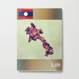 Laos Map with Flag Metal Print