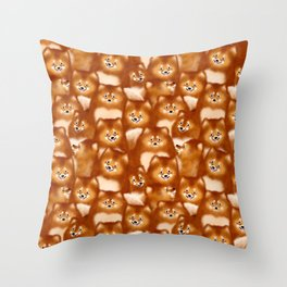 A Bunch of Pomeranians Pattern Throw Pillow