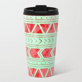 Watermelon Geometric Pattern Metal Travel Mug