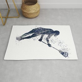 Girl Lacrosse Navy Blue Colorful Watercolor Sports Art Rug