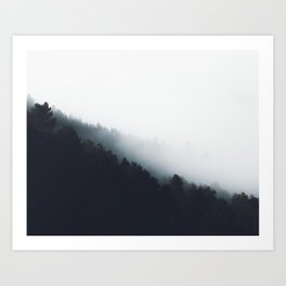 Fog over forest diagonal layers Art Print